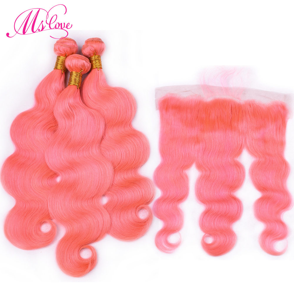 Ms Love Pre Colored Pink Body Wave Human Hair Bundles With Lace Frontal Closure Remy Brazilian Hair Lace Frontal 13*4 inch