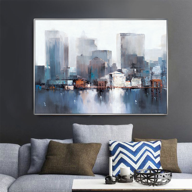 Modern Abstract Painting New York City Architecture Scenery Poster