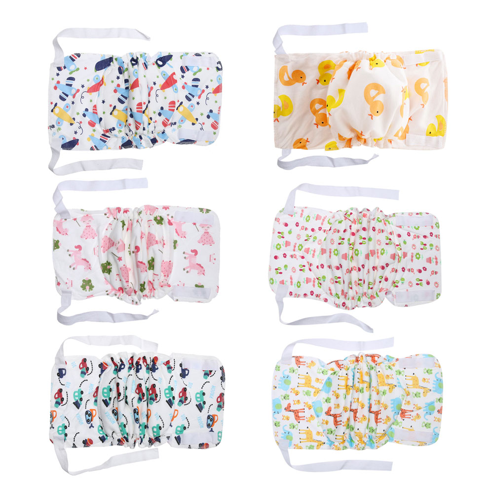 Baby Diaper Cute Infants Children Cartoon Breathable Cotton Diaper Reusable Cloth Nappies Changing Diapers Ribbon Cloth Diapers
