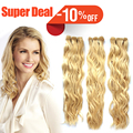 Free Shipping #613 Lightest Blonde Weave Natural Curly 100% Brazilian Remy Hair Weave Virgin Human Hair Extensions