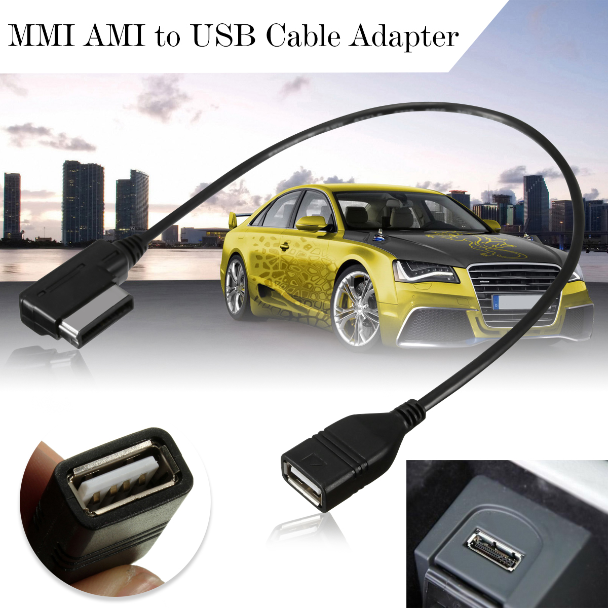 universal mdi mmi ami aux to usb female audio aux adapter. Black Bedroom Furniture Sets. Home Design Ideas
