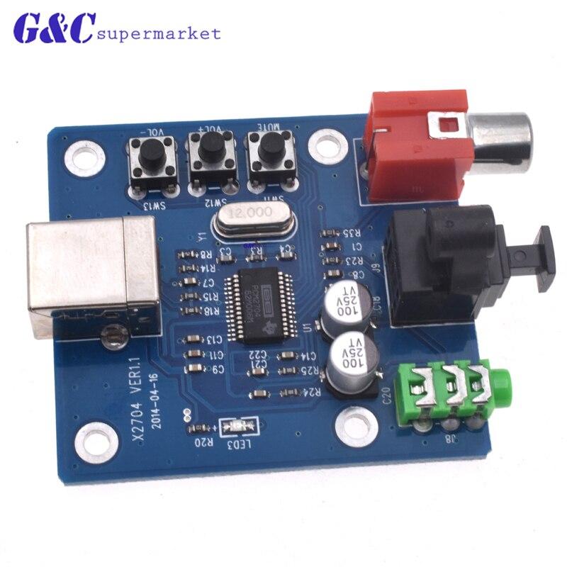 PCM2704 USB DAC USB Power Fiber Optic Coaxial Analog Output For Raspberry Pi Raspbian RaspBMC Windows 7 Need No Drive