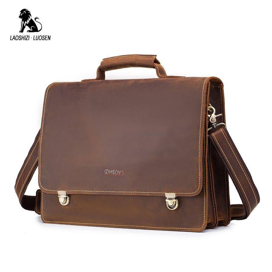 LAOSHIZI LUOSEN Business Briefcases Bag Men Vintage Crazy Horse Leather Laptop Briefcases Bag 13inch Office/Document Bags Men