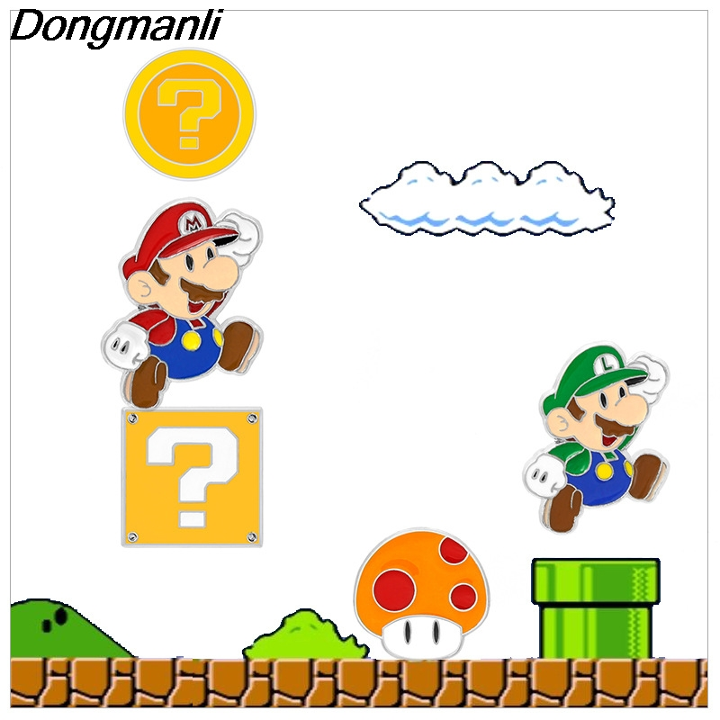 Capable P2962 Dongmanli Classic Game Super Mario Enamel Pin Brooches Cartoon Creative Metal Brooch Pins Denim Hat Badge Collar Jewelry Profit Small Jewelry Sets & More