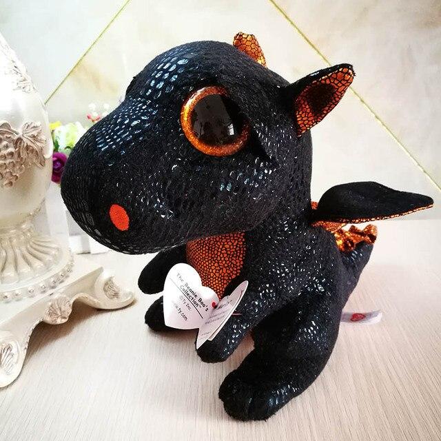 25cm 10 Ty Original Beanie Boos Plush Toy Merlin Black Dragon
