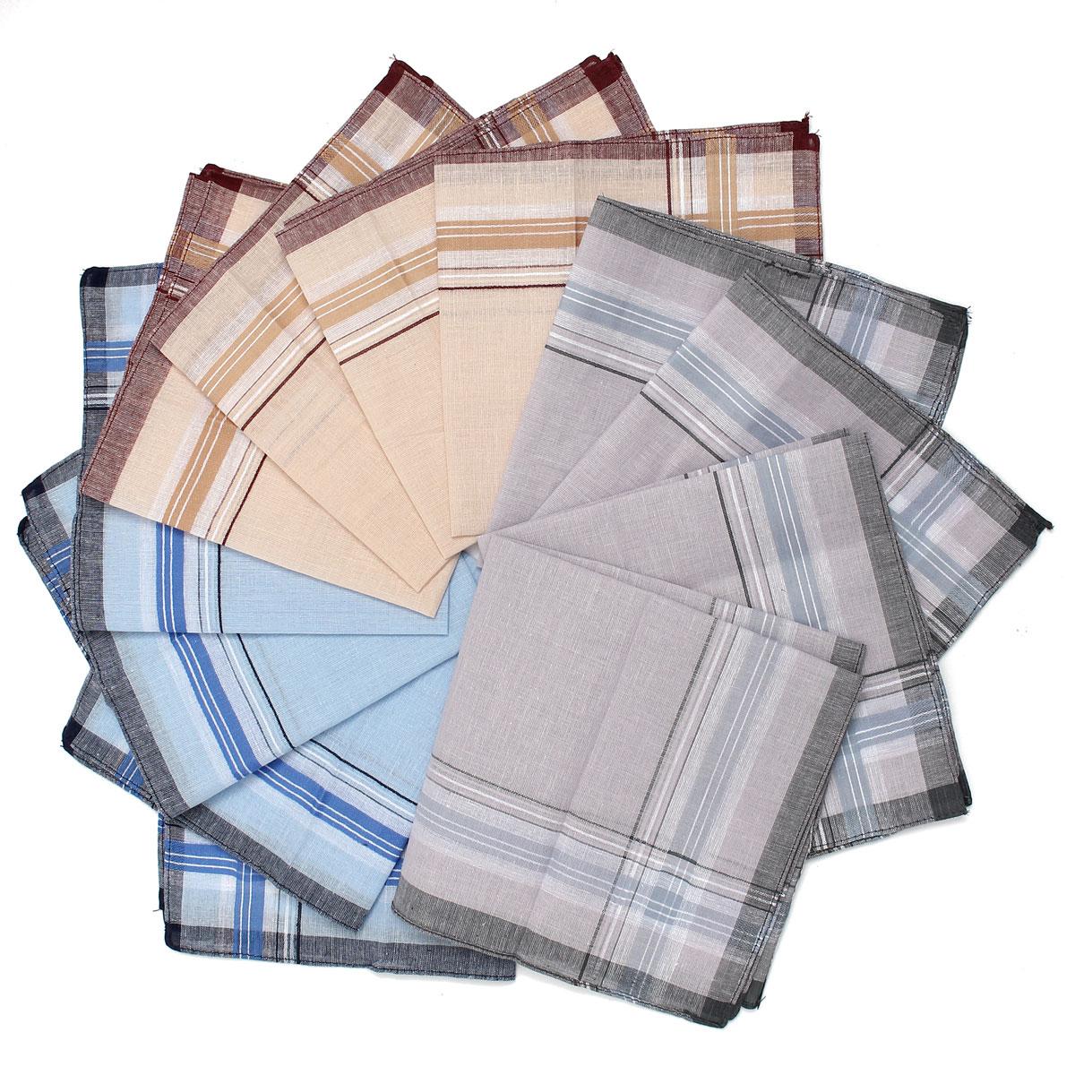 12 Pcs Plaid Square Handkerchiefs Men Cotton 36x36cm Grid Men's Business Chest Towel Pockets Hanky Handkerchief Fore Male Hankie