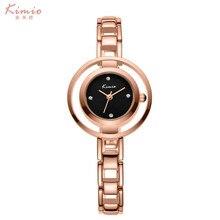 Para Mujer KIMIO relojes de Primeras marcas de relojes de Las Mujeres 2016 Completo de acero inoxidable reloj de cuarzo resistente al agua Señoras reloj de oro Rosa Mujer
