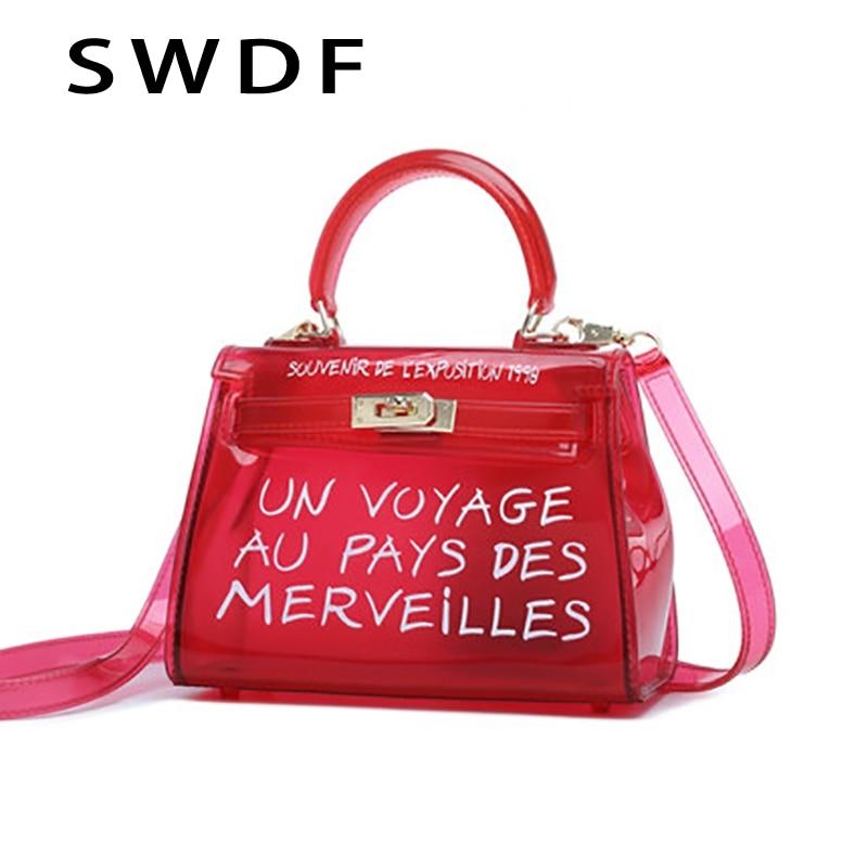 Купить Крутая и пляжная прозрачная сумка женская большая прозрачная  оранжевая ПВХ Прозрачная женская пластиковая сумка ПВХ желе сумки с  буквенны... Продажа ... f282614c641