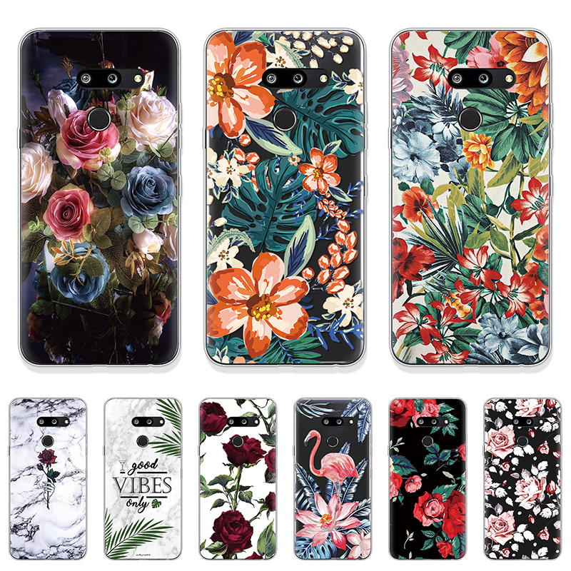Printed Pattern Clear Silicone Cover For <font><b>LG</b></font> G8 ThinQ For <font><b>LG</b></font> X Power 2 K8 K10 2017 <font><b>K11</b></font> Plus Soft Fashion Retro Style Flowers Case image
