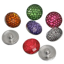 10Pcs Mixed Colors Resin Round Plaid Pattern Snap Press Buttons Click 18x10mm, Fastener 5.5mm