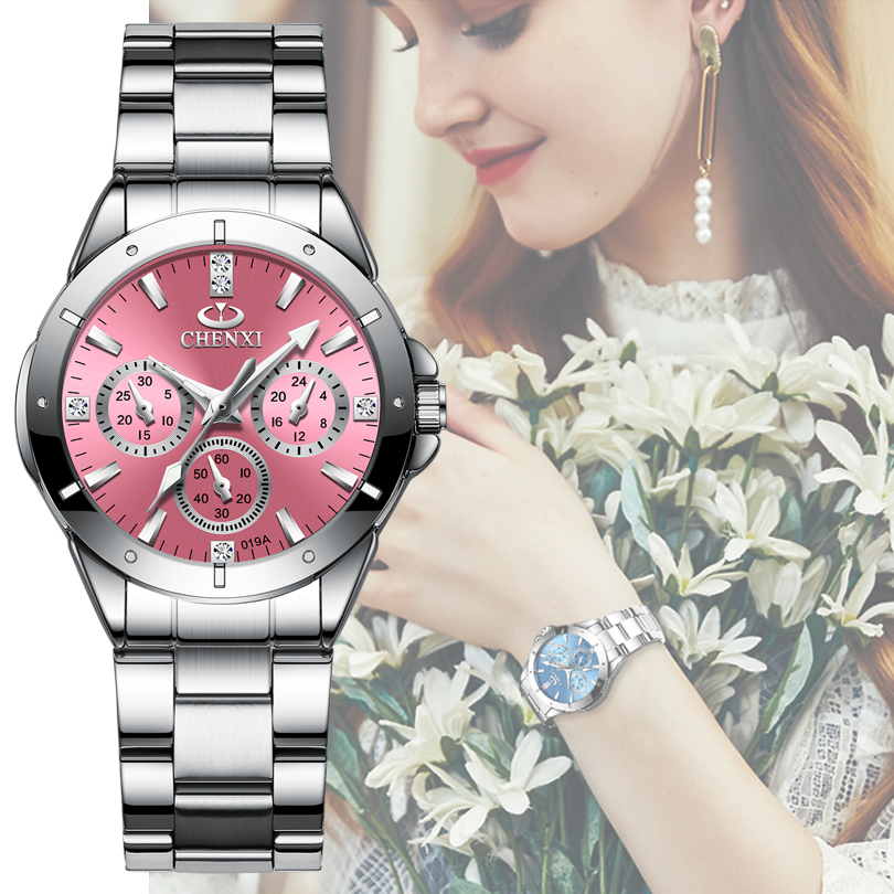 CHENXI 019A Women Fashion Luxury Watches Women's Quartz Wristwatches  Ladies Luxury Rhinestone Dial Clock Waterproof Reloj Mujer