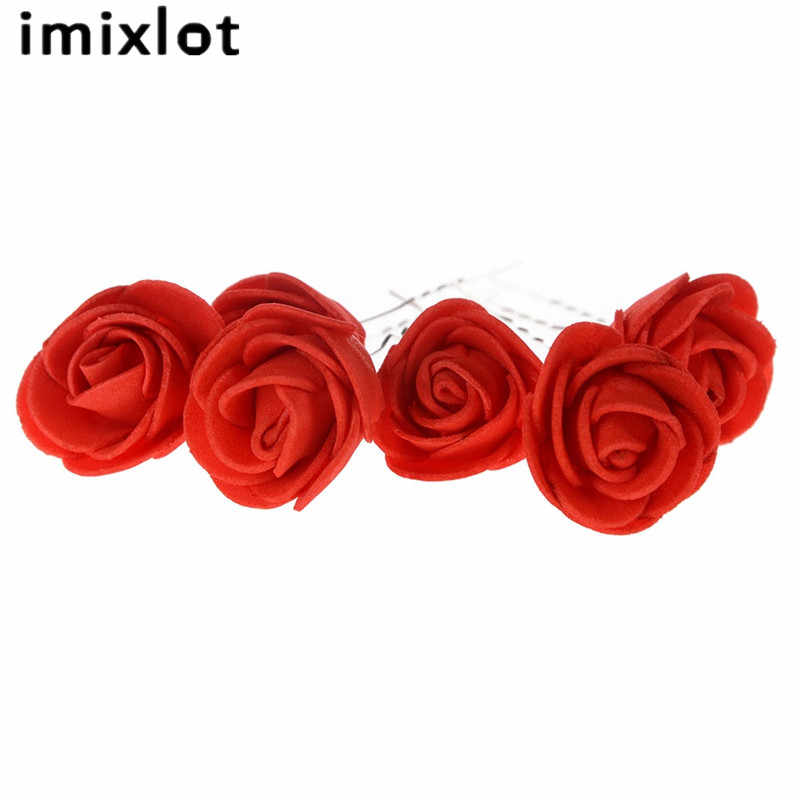 Белый красный цветок розы Шпильки Свадебные Заколки невесты Для женщин Женские аксессуары для волос ювелирные изделия шпилька