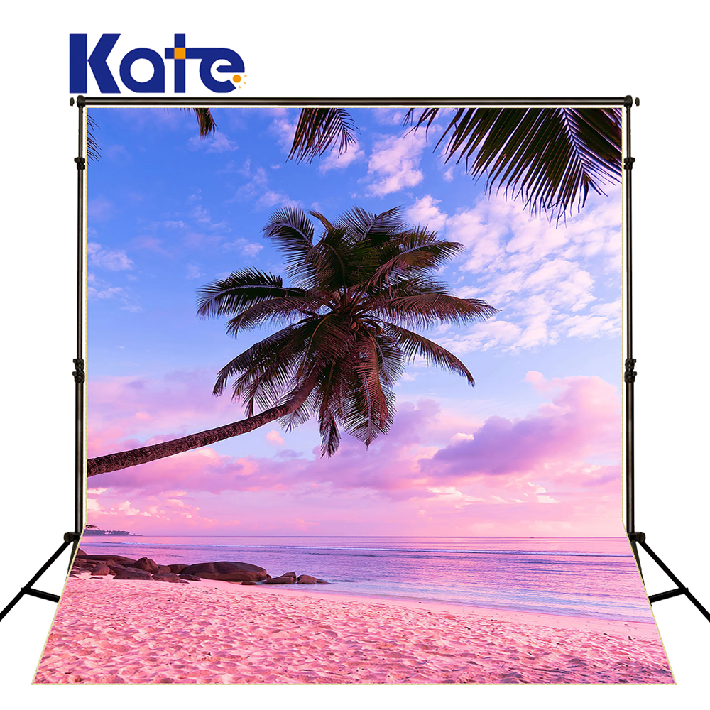 10x10ft Kate Romantic Pink Beach Background Palm Tree Blue Sky and White Clouds Washable and Wrinkle Free Photography Backdrops blue sky white clouds beach coconut tree backdrops fotografia fundo fotografico natal background photograph