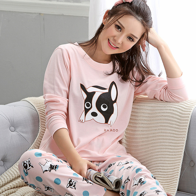 2016 Hot Sale Women Cute Dog Printing Pajama Sets Sleepwear M L XL XXL Long  Sleeve Homewear 36341d8a4