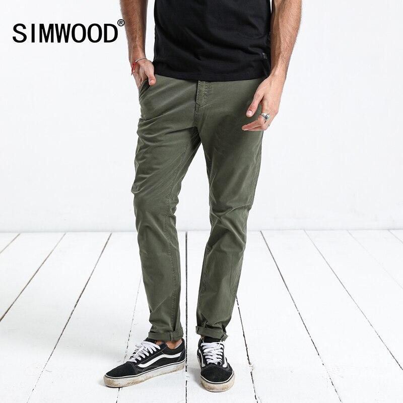 SIMWOOD 2019 весенние штаны для мужчин Slim Fit Smart повседневное высокое качество мотобрюки плюс размеры брендовая одежда Мужской стрейч мотобрюки ...