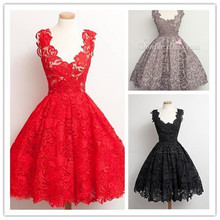 new hot sexy scoop red lace short prom dresses 2016 real photos knee-length vestido de festa longo Party gown fast shipping