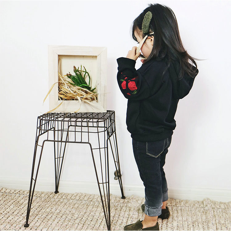 1-6 years Wholesale New 2018 Spring Cotton Embroidery Hooded Kids Girls Jackats (pick size )124TP0104