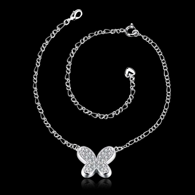 Silver Plated Anklet with Butterfly Charm and Zircon Crystals