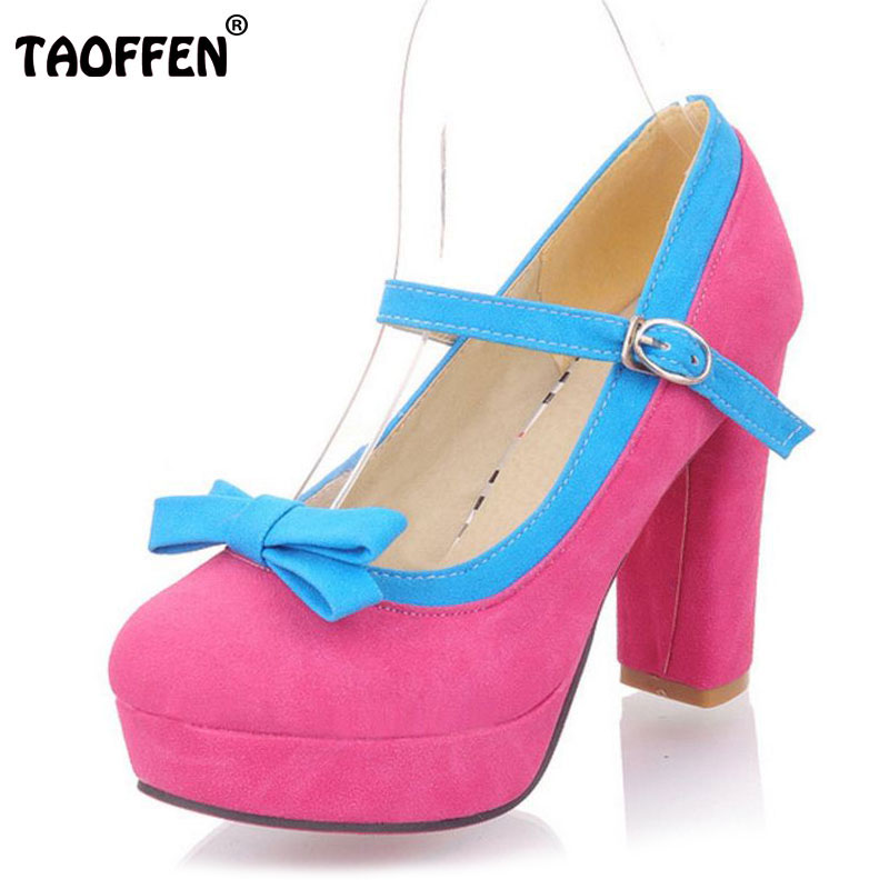 TAOFFEN Size 34-43 Women Mixed Color Pumps Bowknot High Heels Shoes Women Platform Fashion Ankle Strap Party Wedding Footwear kemekiss size 33 42 women s high heel wedge shoes women cross strap platform pumps round toe casual mixed color ladies footwear