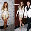 Jennifer Lopez de Oro Apliques de Encaje Cortos Vestidos de Baile 2017 Largo Manga Corta Vestidos de Partido de Coctel Corto Vestidos de Noche