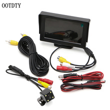 """OOTDTY 2 In1 Auto di Parcheggio 4.3 """"TFT LCD Display A Colori Retrovisore Monitor + 4 Luci A LED Impermeabile Telecamera per la Retromarcia monitor di Sistema"""