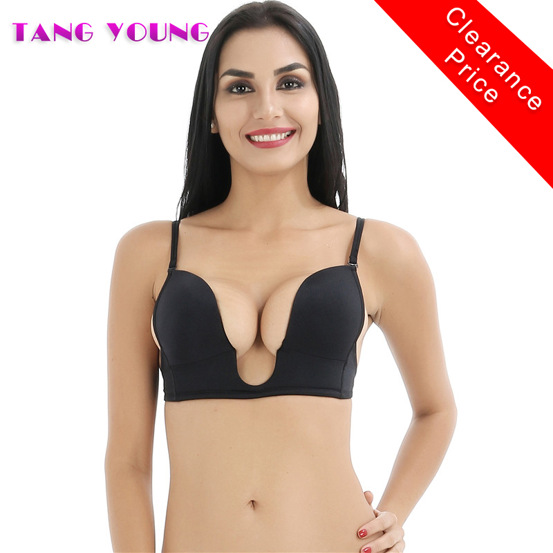 TANG YOUNG Women Deep U Neckline Push Up Brassiere Sexy Evening Dress Wedding Adjustable Cleavage Bra