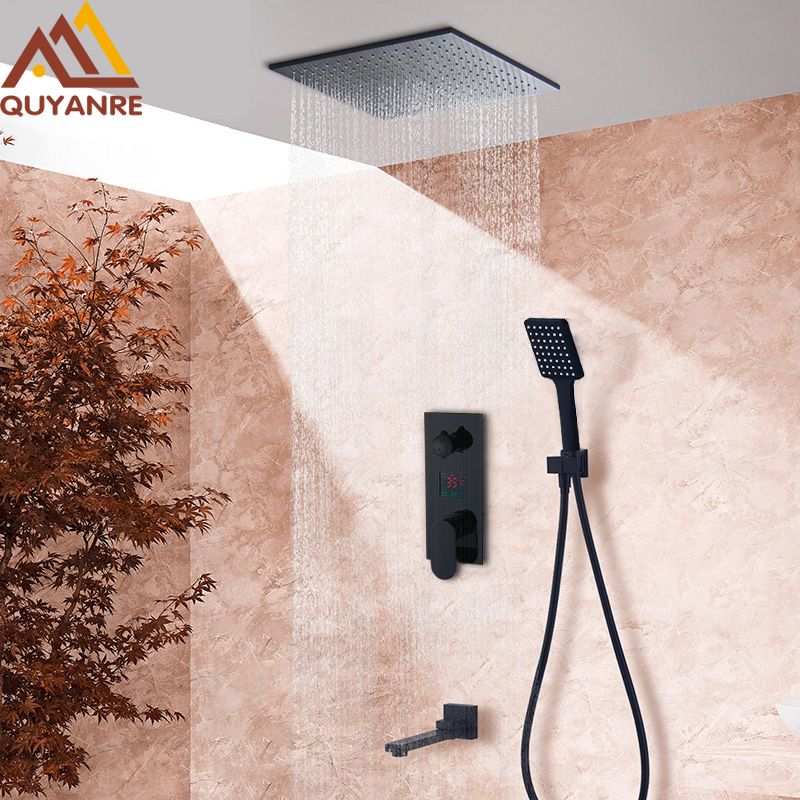 Quyanre Black Digital Shower Wall Mounted Rainfall Shower 3-way Digital Display Mixer Tap Swivel Tub Spout Bathroom Shower