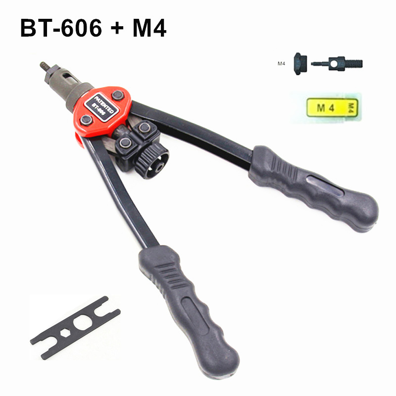 Hot sales high quality hand riveter free shipping pull rivet nut riveting tools with one M4 die BT-606 hot sales new original high voltage dt60 300p 300pk 15kv 15kva free shipping