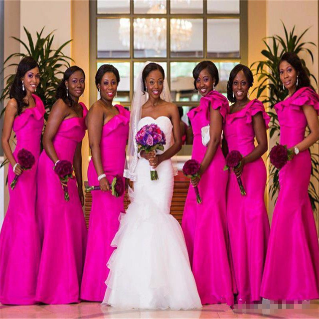 One Shoulder Mermaid Fuchsia Bridesmaids Dresses Ruffes Stain Long Bridal Party Dress Gown Vestidos