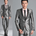 2016 the new groom men's wedding suits silver shiny suit dress suit Two piece