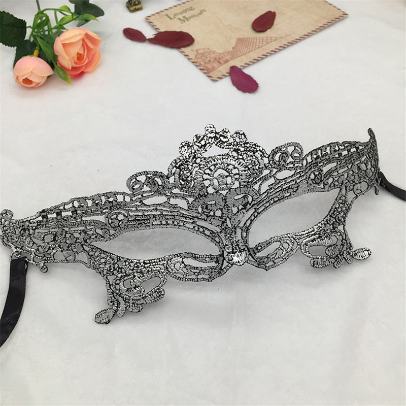 Серебряная горячая штамповка Дамская Сексуальная Маскарадная маска из кружева для карнавала, Хэллоуина, выпускного вечера, Вечерние Маски, маска для глаз#35 - Цвет: PM001TS