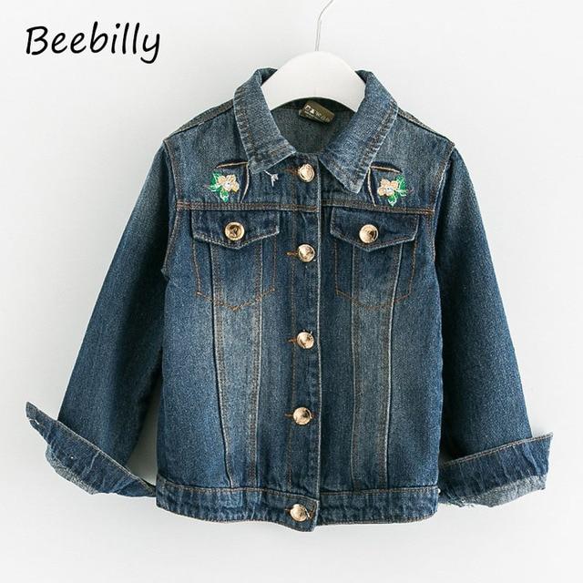 BEEBILLY Girls Denim Jackets Coats Fashion Children Outerwear Embroidery Sequins Children's Clothing Spring Autumn Jean Jackets