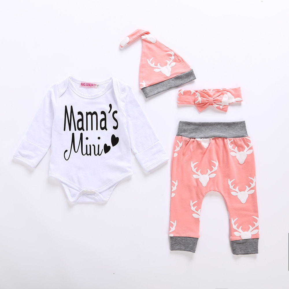2018 Autumn New baby Girls clothing set Pink Long Sleeve Romper +Long Pants deer +Hat baby boy 3pcs clothes set 3pcs baby set cute newborn baby boy girl clothes infant white short sleeve arrow romper long camouflage pants hat 0 18months