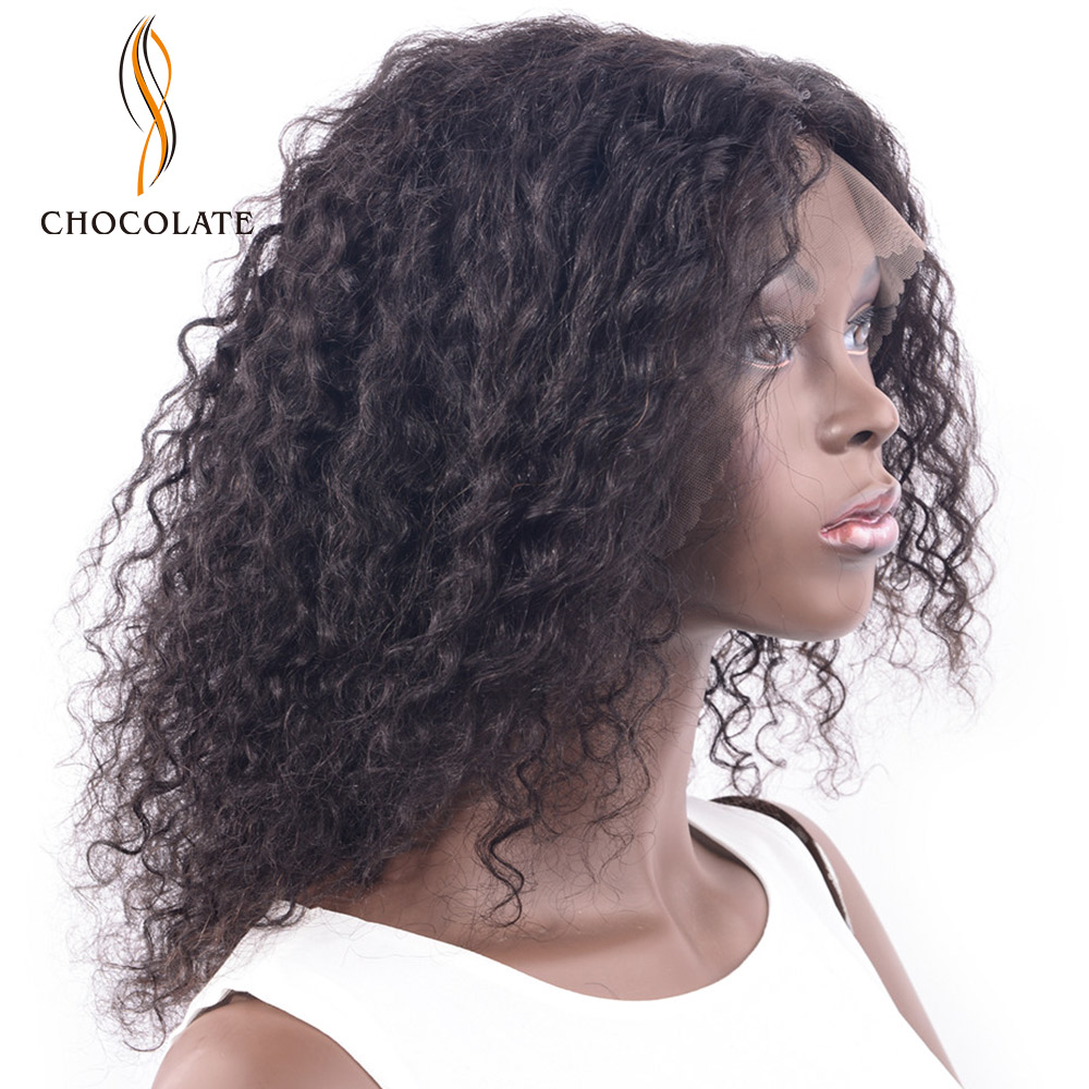 CHOCOLATE Human Hair Wig For Black Women Bleached Knots With Remy Hair 190% Density Brazilian Curly Lace Front Wig 16 Inch
