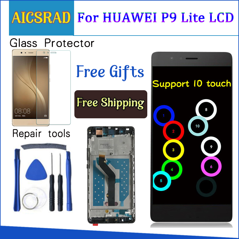 For Huawei P9 Lite VNS-L21 VNS-L22 VNS-L23 VNS-L31 VNS-L53 LCD Display + Touch Screen Digitizer Assembly Replacement With Frame