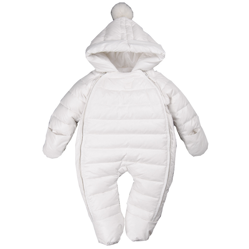 efb18d4f9dd4 Baby Down Cotton Rompers Double zipper Infant Winter Overalls Thick ...