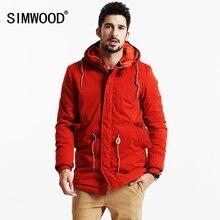 SIMWOOD 2019 新冬ロングコートの男性暖かいカジュアルジャケットアウターファッション厚手のパーカーブランド服高品質 MF9502