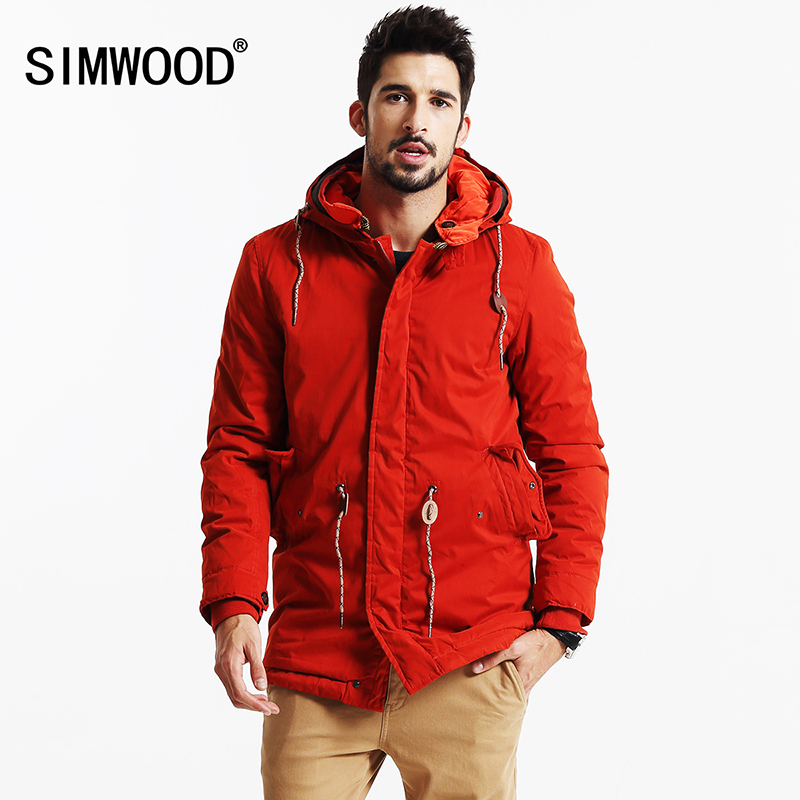 SIMWOOD 2019 جديد شتاء طويل معاطف الرجال الدافئة عارضة سترة قميص الأزياء سميكة ستر العلامة التجارية الملابس عالية الجودة MF9502-في سترات فرائية مقلنسة من ملابس الرجال على  مجموعة 1