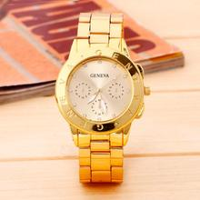 2016 New Geneva Ladies Women Girl Rose Gold Watches Stainless Steel Band Quartz Bracelets Wristwatch