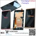 Original em preto/vermelho/amarelo completa lcd display & touch screen digitador assembléia + quadro para htc desire 600 606 606 w dual sim, teste + pista