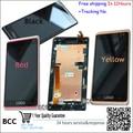 Original negro/rojo/amarillo completa pantalla lcd y pantalla táctil digitalizador asamblea + frame para htc desire 600 606 606 w dual sim, prueba + track