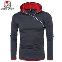 John S Bakery Brand 2017 New Hoodies Brand Men Oblique Zipper Sweatshirt Male Hoody Hip Hop