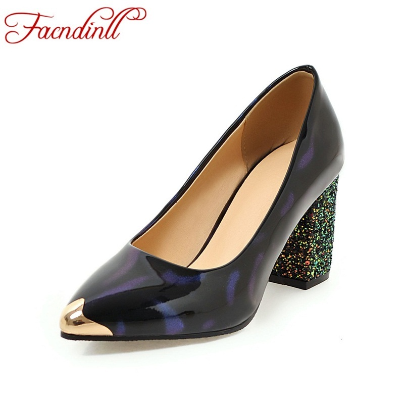 все цены на FACNDINLL 2018 spring summer office shoes women pumps high heels party sexy metal pointed toe shallow woman leather dress shoes