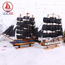 LUCKK 50 CM Black Skull Pirate DIY Model Ships Home Interior 2 Color Vintage Wood Decoration Crafts Sea Style Toys Sailing