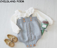 2017 Baby Girls Jumpsuit Clothes Toddler Newborn Baby Rompers Knitted Baby Overalls Button Rompers Princess Kids