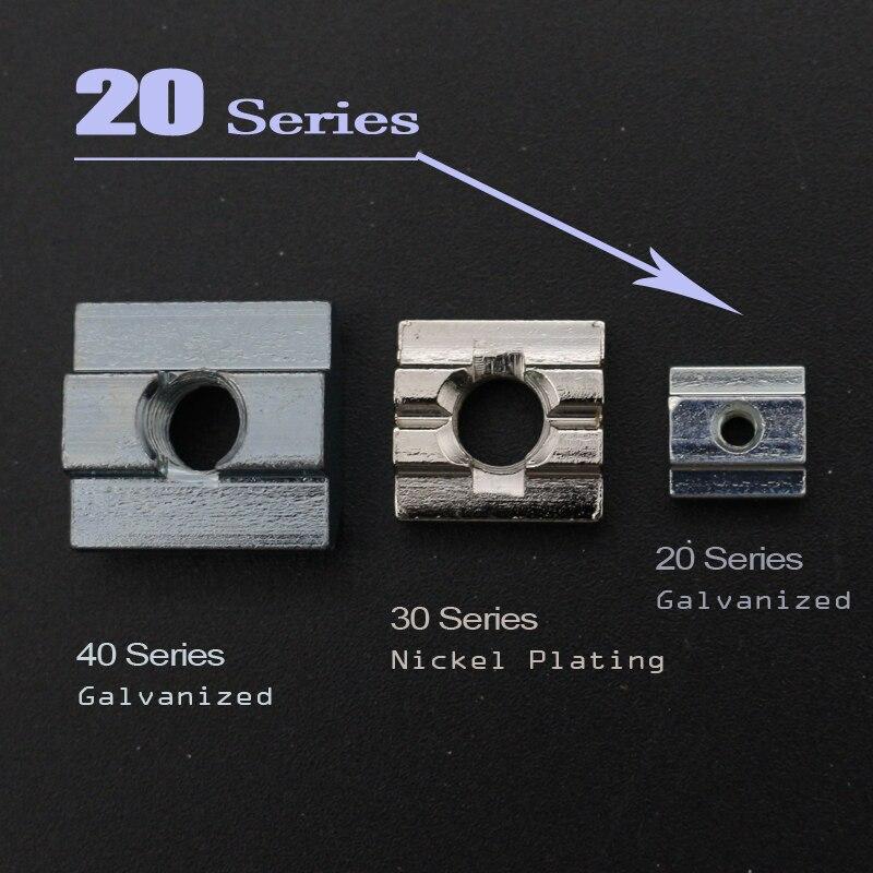 T Sliding Nut Block Square Nuts Zinc Coated Plate Aluminum For EU Standard 2020 Aluminum Profile Slot for Kossel DIY CNC