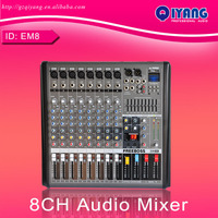 FREEBOSS EM8 8 Channels Audio Mixer Professional DJ Console with 48V Phantom Sound Studio Mixer System DJ Mixer