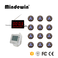 Mindewin Restaurant Pager Systems Customer Services 1 LED Display +1 Watch Pager +12 Waiter Calling Service Button Waterproof