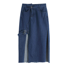 купить Split Wrap Skirts Plus Size Blue Long Denim Skirts Women Button Pockets Jeans Skirts Summer Korean Vintage Sexy Long Maxi Skirt дешево