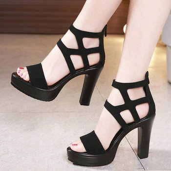 2019 New Summer High Heeled Sandals Women Shoes Cross Leather Platform Sandals Roman Ladies Shoes Gladiator Fine Heel Pumps women new design white leather lace up mix color ball design thick heel sandals gladiator sandals ladies beach sandals